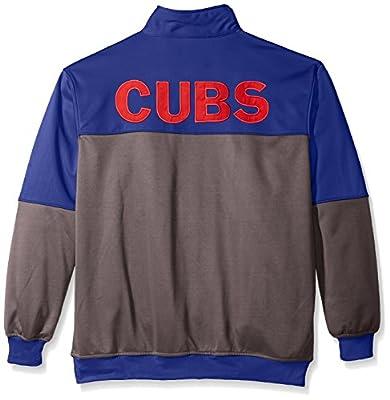 MLB Big and Tall Men's Poly Fleece Yoked Track Jacket with Wordmark Logo