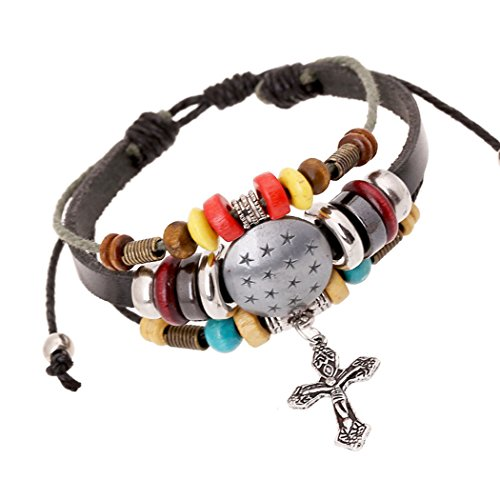 Time Pawnshop Handmade Cross Star Shield Multilayer Charm Bracelet Adjustable