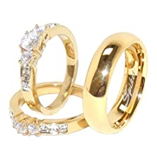 buy His/Hers 3 Pcs Gold Ip Stainless Steel Round Small Cz Ring Set And Mens Band-W5M9