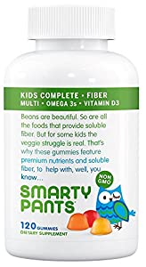 SmartyPants Kids Complete and Fiber Gummy Vitamins: Multivitamin, Inulin Prebiotic Fiber & Omega 3 DHA/EPA Fish Oil, Folate (Methylfolate), Vitamin D3, 120 count (30 Day Supply)