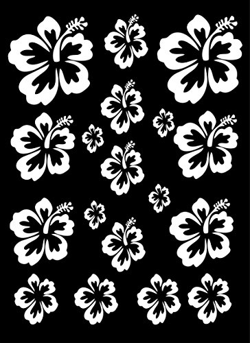 HIBISCUS FLOWERS - (1- SHEET) **WHITE** Vinyl Decals Car Windows, Bathrooms, Kitchens, Showers, Sliding Glass Doors, Etc...