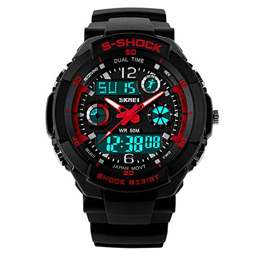Nuricher S-Shock Mens Fashion Sport Watches Analogue Digital Display Multifunction GMT 50m Waterproof Band Range 16.5-23cm (red)