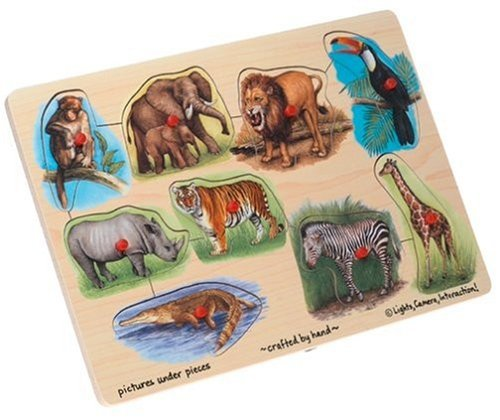 51zYk9rG5CL Cheap Price Wooden Zoo 9 piece Peg Puzzle