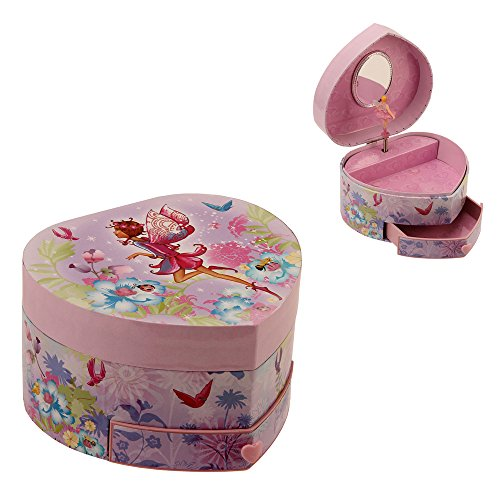 Heart Shaped Musical Fairy Girl Jewelry Box with Drawer By Haysom Interiors