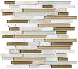 Sample bliss bamboo stone and glass linear mosaic tiles Bamboo backsplash