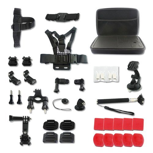Kitway Sports Accessory Kit for GoPro HERO 4 ,3+,3,2 ,1 SJ4000 5000 6000 7000 Xiaomi Yi Cameras(33-in-1)