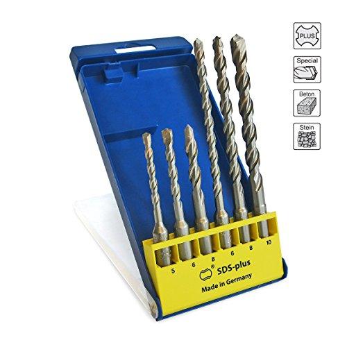 S&R Punte per martelli ad alte prestazioni SDS 4 più, set: 6 pezzi: 5, 6, 8 x110; 6, 8,10, x160 mm, qualità professionale