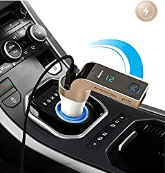 BlueInkTM CARG7 Bluetooth Car Kit Fm Transmitter Wireless Bluetooth Fm Modulator Radio Car Mp3 Player with 1-port USB Charging, Music Control and Hands-free Calling (Gold)