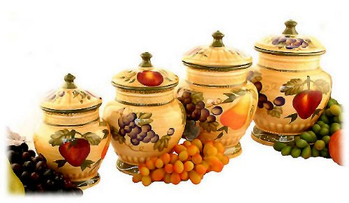 4PC ITALIAN CANISTER SET TUSCANY FRUIT DECOR