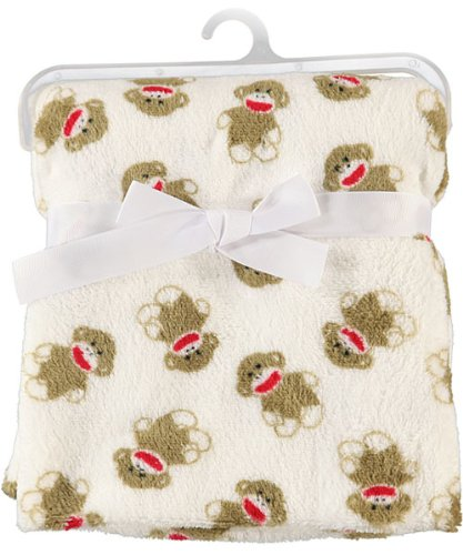 Sock Monkey Plush Baby Blanket - 1