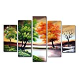 VASTING ART 5-Panel 100% Hand-Painted Oil Paintings Seascape Silent Port Modern Abstract Contemporary Artwork Canvas Stretched Wood Framed Ready To Hang Home Decoration Wall Decor Bedroom Living Room