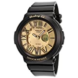 Casio BGA160-1B Women's Baby-G Analog & Digital Gold Tone Dial Shock Resistant Alarm Watch