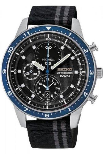 Seiko Men'S Sndf47P1 Chronograph Black Dial Black Canvas Watch