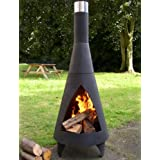 MEDIUM 125cm HIGH BLACK STEEL COLORADO CHIMINEA PATIO HEATERby La Hacienda