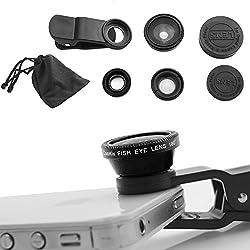 DMG Universal 3 in 1 Cell Phone Camera Lens Kit - Fish Eye Lens / 2 in 1 Macro Lens & Wide Angle Lens / Universal Clip (Black)