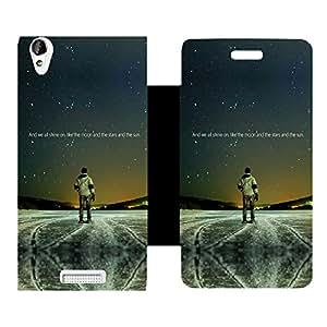 Skintice Designer Flip Cover with Vinyl wrap-around for Lava Iris X1 Atom, Design - star shine