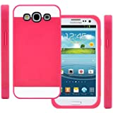 TPU Silikon Strass Glitzer Hülle Hüllen Schutzhülle Tasche Etui Protection Case Protective Cover für Samsung Galaxy S3 S III I9300 I9305 Rosa Rot+Rosa Pink+Weiß