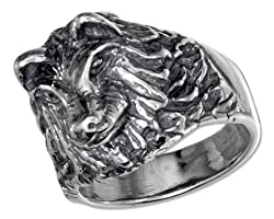 Sterling Silver Mens Wolf Head Ring (size 09)