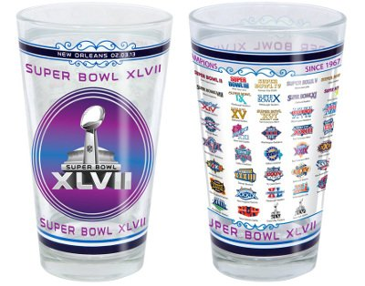 Super Bowl Xlvii New Orleans & All 47 Nfl Super Bowl Logos Victory Pint Glass Picture