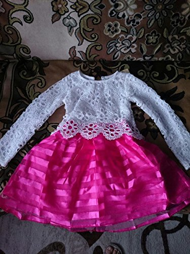 WEONEDREAM Baby Girls' Party Dress with Long Sleeves Striped Crochet Flower Patchwork (5T, white hot pink)