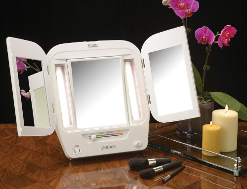 Jerdon Jgl10w Euro Tabletop Tri Fold Two Sided Lighted