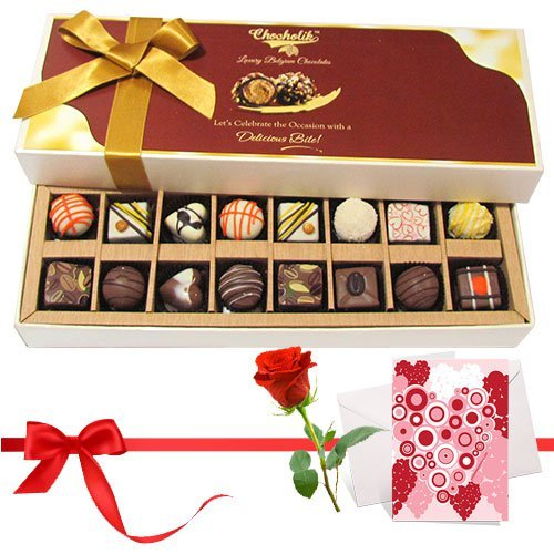 Great Collection Of Dark And White Chocolates Treats With Love Card And Rose - Chocholik Belgium Chocolates