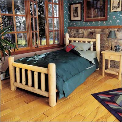 """Log Bed - Double - (Natural) (45""""H x 58""""W x 76""""L)"""