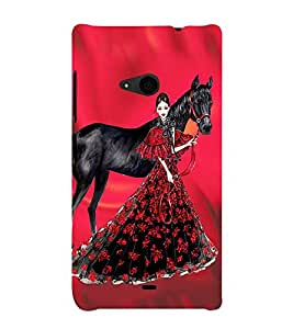 PrintVisa Fashion Horse Girl Dress Design 3D Hard Polycarbonate Designer Back Case Cover for Nokia Lumia 535