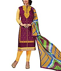 Rudra house Women's chanderi cotton unstitched dress material(PKR-1003 Magenta and golden free size)