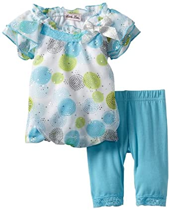 Little Lass Baby-Girls Infant 2 Piece Capri Set with Dots, Turquoise, 6-9 Months