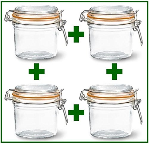 Set of 4 - Le Parfait French Wide Mouth Glass Canning Jars - 12 Oz Each