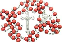 Catholic Rosary Gift Wood Beads & Silver Tone Metal Crucifix & Miraculous Centerpiece Italy