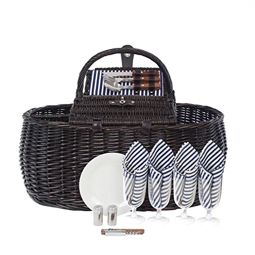 Sale!! Zelancio 4 Person Picnic Basket Set Dual Lid Design Large Service for Four Beach Park and Bac...