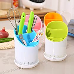 HOME CUBE® Combo Offer !!! Spork Spoon Cutlery Holder Kitchen Sink Sponge Strainer Organizer Kitchen Dryer Tool + 2 Pc Sponge with Scrubber Free !!