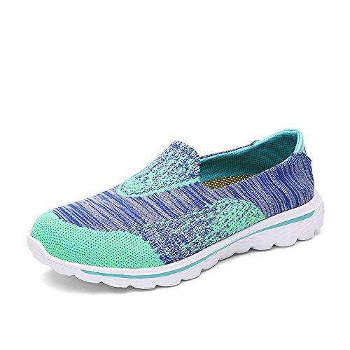 T.B Walking da unisex adulto, uomo e donna Go Walk Donna Trainer Slip On scarpe sportive tempo libero scarpe corsa esterna, Light blue/Green, 6 UK