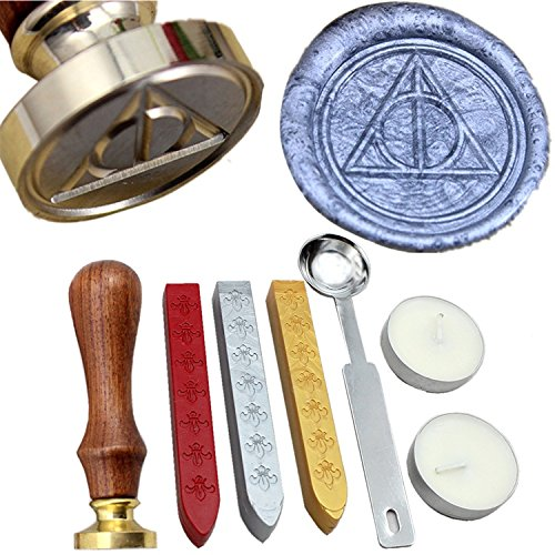 FQL Deathly Hallows Symbol Vintage Rosewood Wax Seal Stamp Set With Gold Red Silver Sticks (Wax Seal Vintage compare prices)