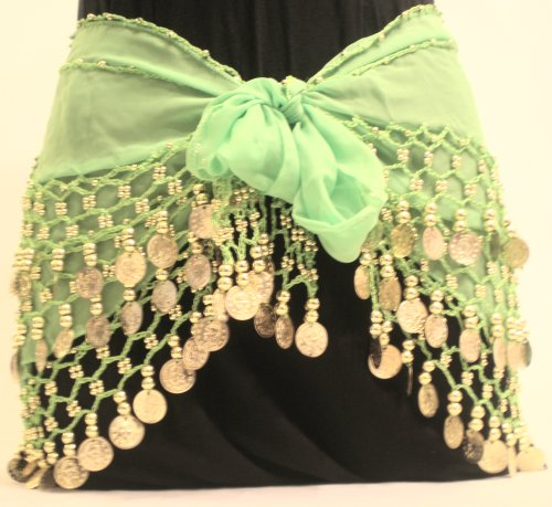 Lime Green Chiffon Dangling Gold Coins Belly Dance Hip Scarf, Vogue Style