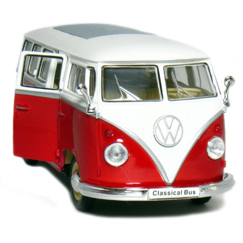 1962 VW Classic Bus 1:24 Scale (Red/White Top) (Vw Bus Model compare prices)