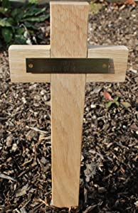 Pet Memorial Grave Marker Cross, Solid Light Oak, A Tribute to a Lost Pet, with Engraved Name Plate, 45 x 15.5 cm