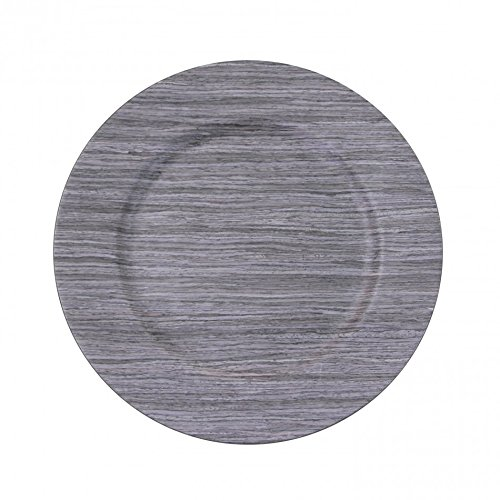 Koyal Faux Wood Charger Plates, 24-Pack, Driftwood Gray front-1055071