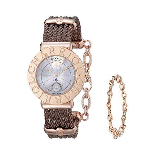charriol-femme-30mm-bracelet-acier-inoxydable-marron-saphire-quartz-cadran-nacre-montre-st30cp156300