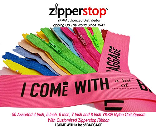 Cheapest Price! Zipperstop Wholesale YKK®- 50 Assorted 4 Inch, 5 Inch, 6 Inch, 7 Inch and 8 Inch Ny...