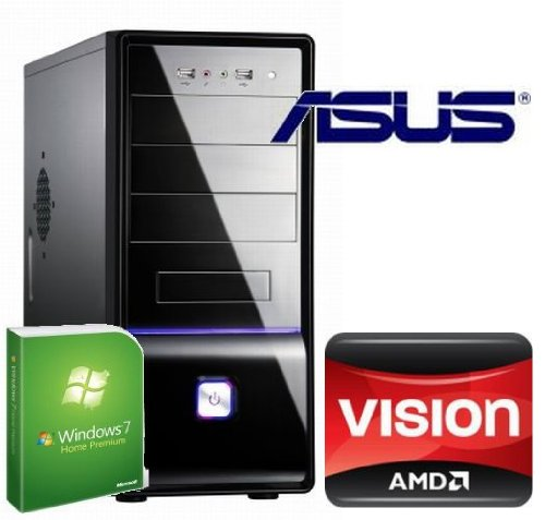 Tronics24 averagesystem AMD FM1 Llano A 3300 2x2.5 GHz (Dualcore), 8 GB DDR3, Asus, AMD HD6410D, 500 GB SATA, Microsoft Windows 7 Home Premium, DVD-Brenner, Cardreader, Sound, GigabitLan, Office PC