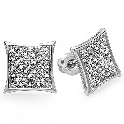 0.20 Carat (Ctw) 14K White Gold Real White Diamond Kite Shape Men'S Hip Hop Iced Micro Pave Stud Earrings 1/5 Ct