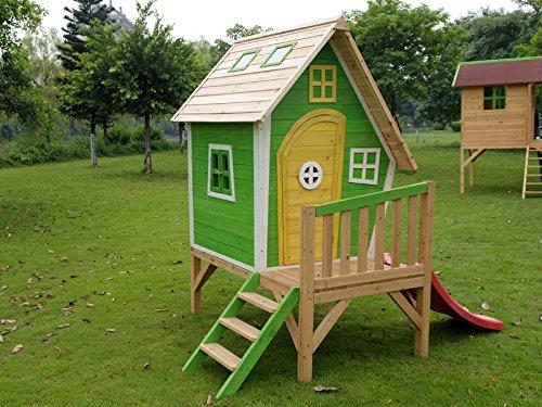 dein-spielplatz® Stelzenhaus BASIL Hexenhaus aus Holz mit Rutsche – 243 x 153 x 207 cm – GRÜN günstig bestellen