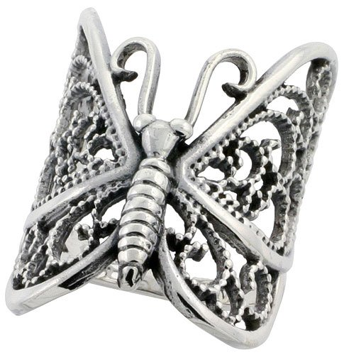 Sterling Silver Large Butterfly Ring (31 mm) Long, Size L