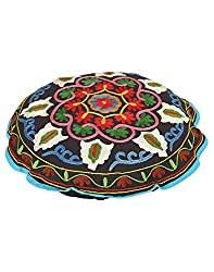 Exclusive Round Black Ottoman Cotton Floral Embroidered Pouf Cover Dining Room By Rajrang