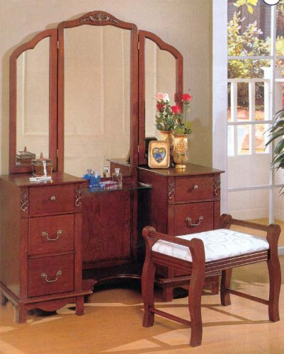 Coaster Beautiful Traditional Vanity Set In Birch Finish