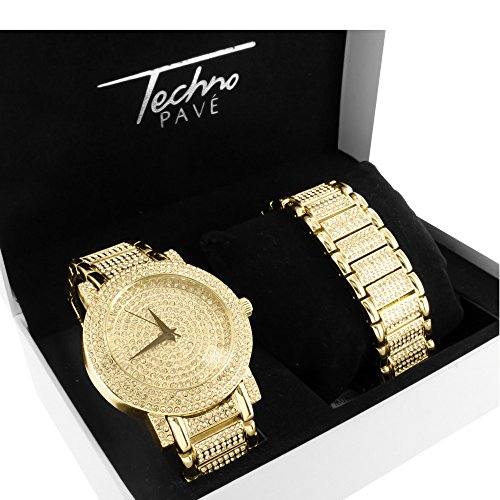 14K Gold Finish Iced Out Simulated 4.0 Ct Diamond Techno Pave Watch Bracelet Set (Watch Techno Watch compare prices)