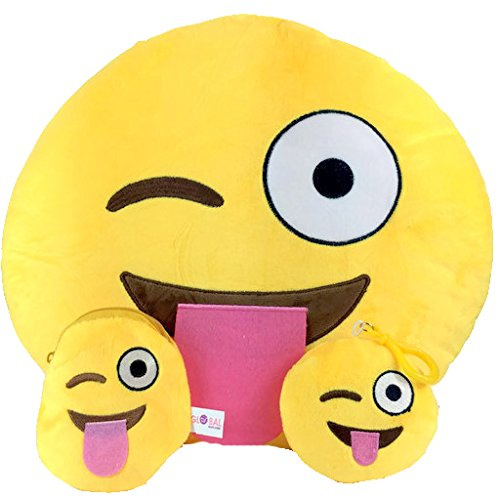 Emoji Cuscino Free portachiavi catena e morbido denaro Portafoglio Portamonete Smiley Fake Poop Throw cuscino emoticon Cute a forma di peluche Love Giallo Rotondo Marrone Set Regalo Grande giocattolo divertente Merchandise - Accessori tutto per bambini prime (Poop) Cheeky Tongue